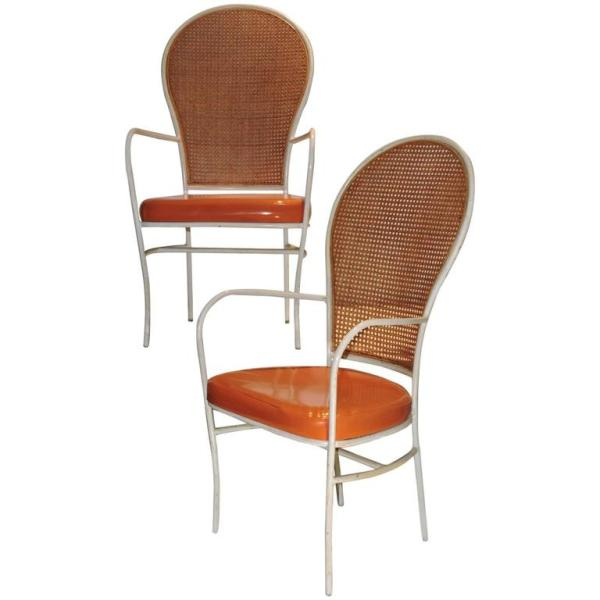 Milo Baughman for Thayer Coggin Iron & Cane Armchairs