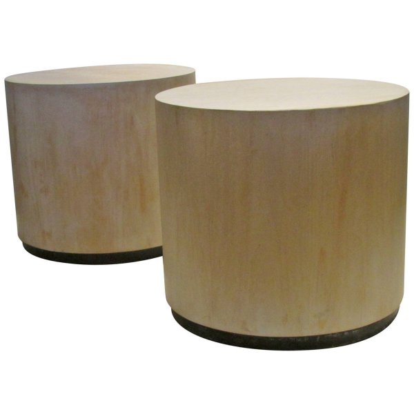 Bleached Cylinder Tables Stools