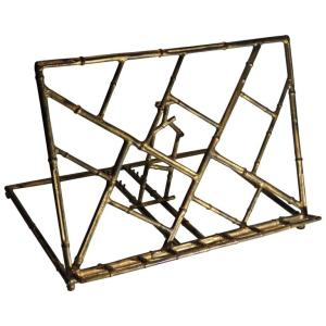 Faux Bamboo Gilt Metal Book Stand Italy