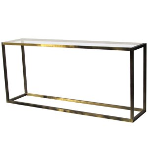 Hollywood Regency Lacquered Brass Console Table