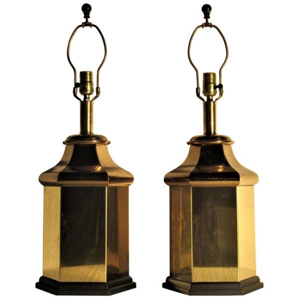 Hollywood Regency Brass Ginger Jar Lamps