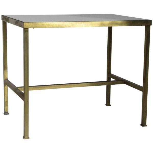 Modernist Brass and Vitrolite Table