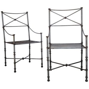 1970's Neoclassical Brushed Steel Armchairs