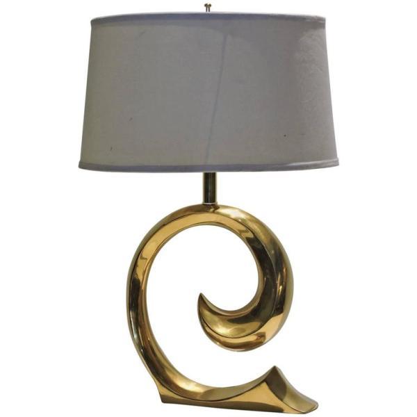 Pierre Cardin Brass Wave Logo Lamp