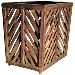 Old Chinese Wood & Bamboo Slat Basket