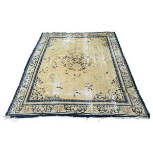 Antique Distressed Ivory Field Chinese Peking Oriental Rug
