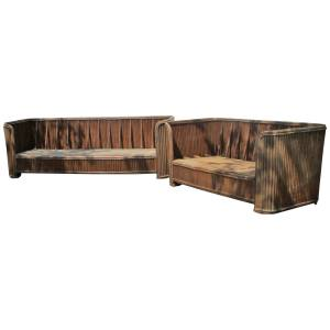 Art Deco style Natural Rattan Sofa & Loveseat