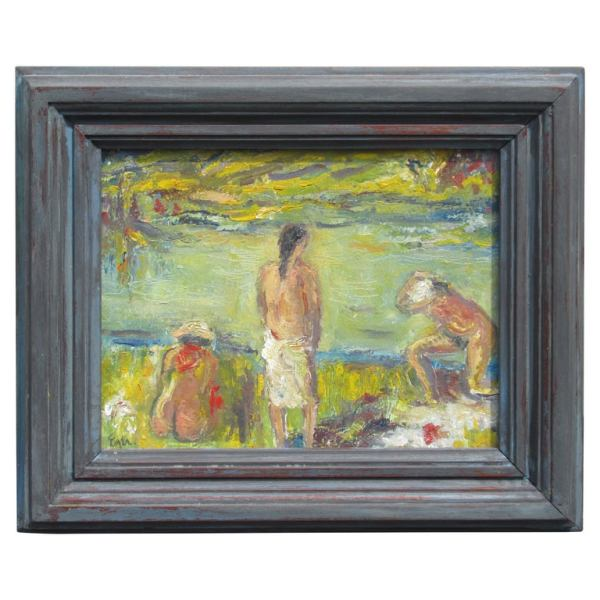 Figurative Impressionist Beach Scene Painting by Joseph Eger
