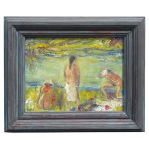 Figurative Impressionist Beach Scene Painting by Joseph Eger