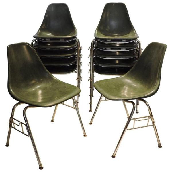 Mid Century Green Fiberglass Stacking Chairs