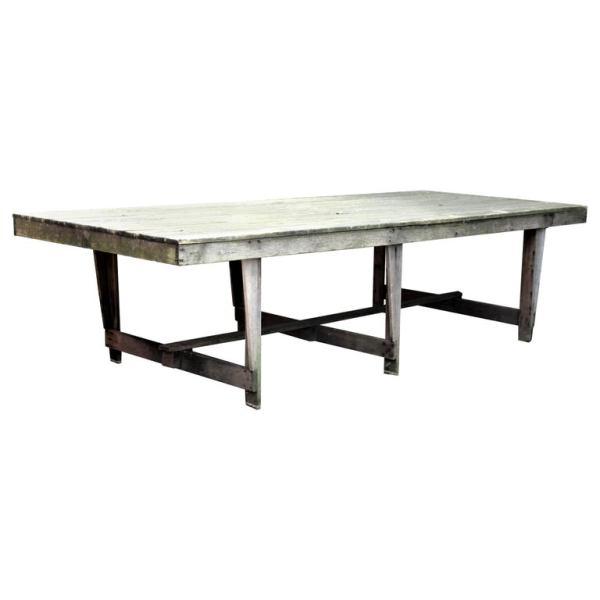 Long Massive Weathered Folding Leg Camp Table