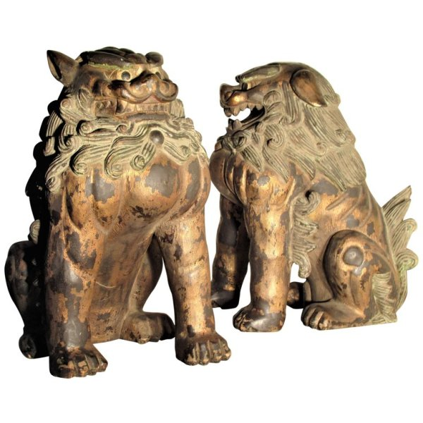 Antique Chinese Large Foo Dog Lions