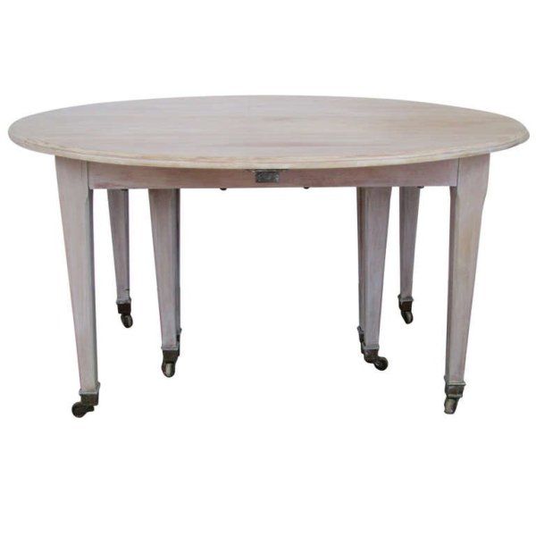 Mid 19th Century French Dining Table in Limed Finish