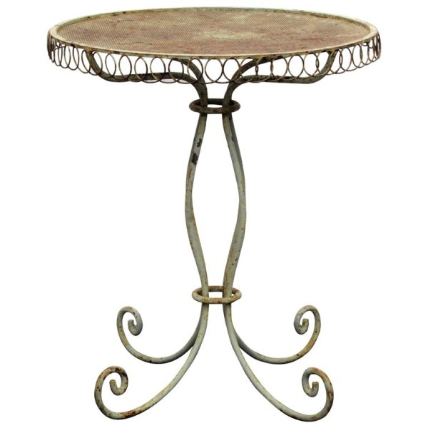 Antique French Iron Wire Garden Bistro style Table