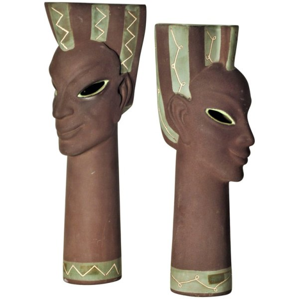 California Pottery Exotic Head Vase Sulptures