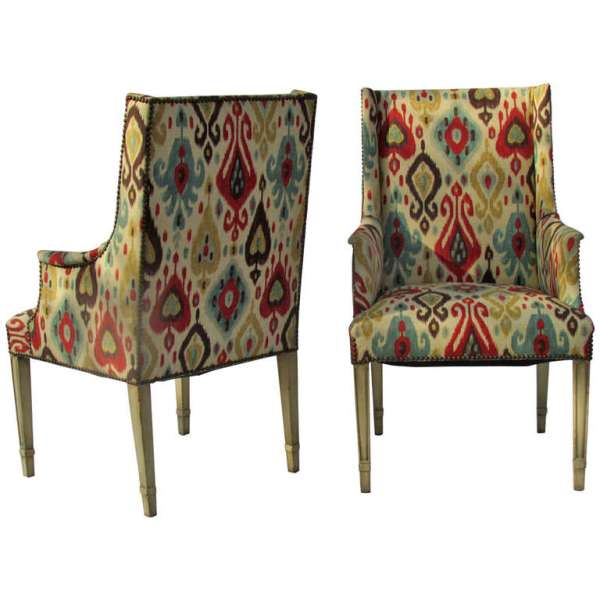 Regency style Chairs with Ikat Upholstery