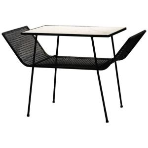 Iron Mesh Winged Table with Marble Top