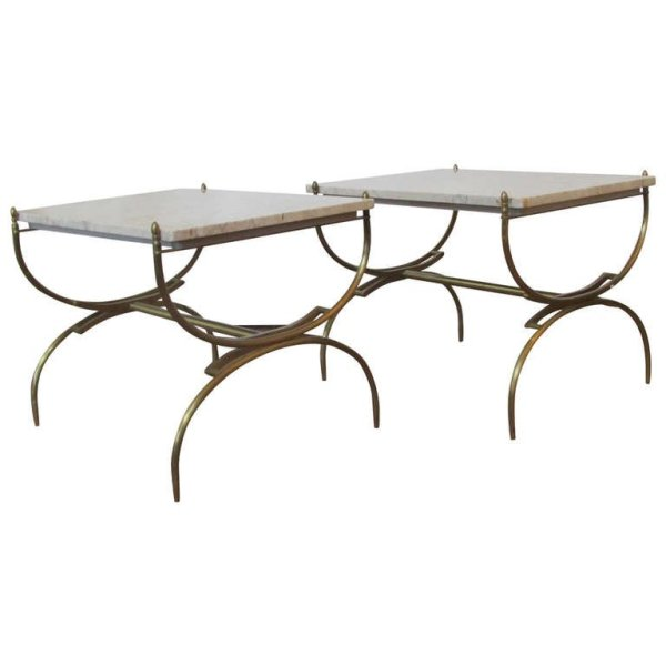 Italian Bronze & Marble Curule Form Tables