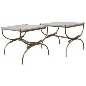 Italian Bronze & Marble Curule Form Tables
