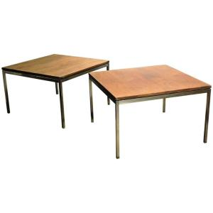 Florence Knoll Steel & Walnut Tables
