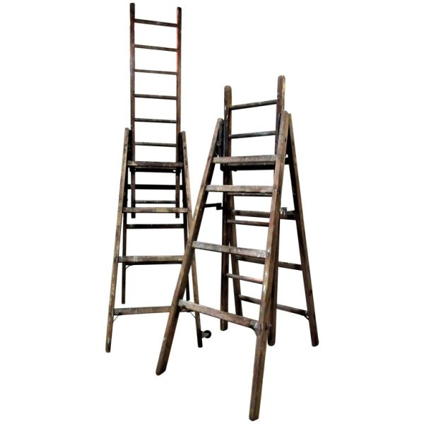 Antique Industrial Wood and Steel Extension Ladders