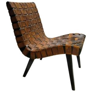 1940's Jens Risom Leather Webbed Ebonized Lounge Chair