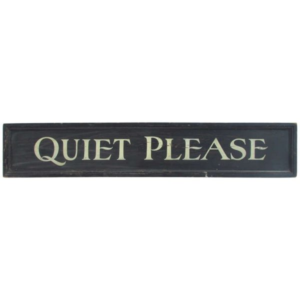 Antique Painted & Gilded Wood Library Sign - QUIET PLEASE