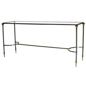Steel & Bronze Console Table style of Maison Jansen