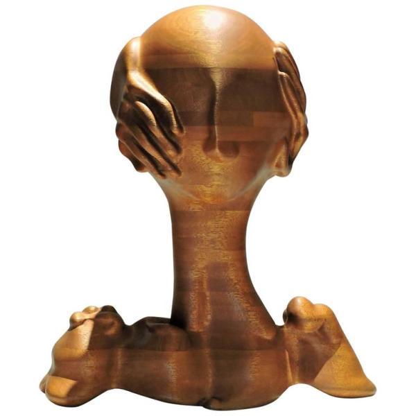American Craft Studio Surrealistic Sculpture Head & Hands