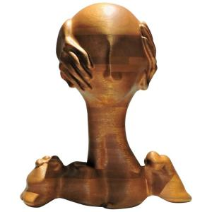 American Craft Studio Surrealistic Sculpture Head & Hands