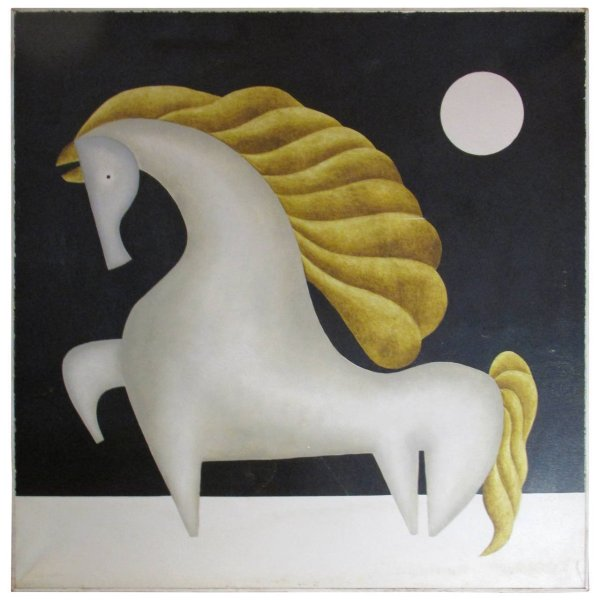 Mexican Modernist Horse Painting by Gustavo Martinez - 1970