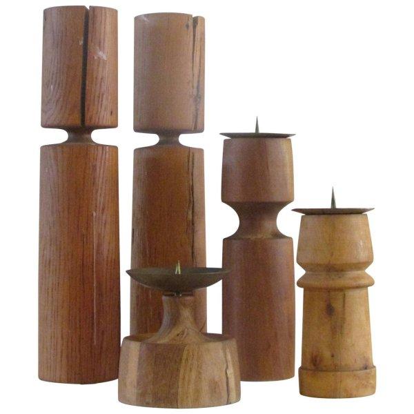 Modernist Turned Wood Sculpture Candlesticks