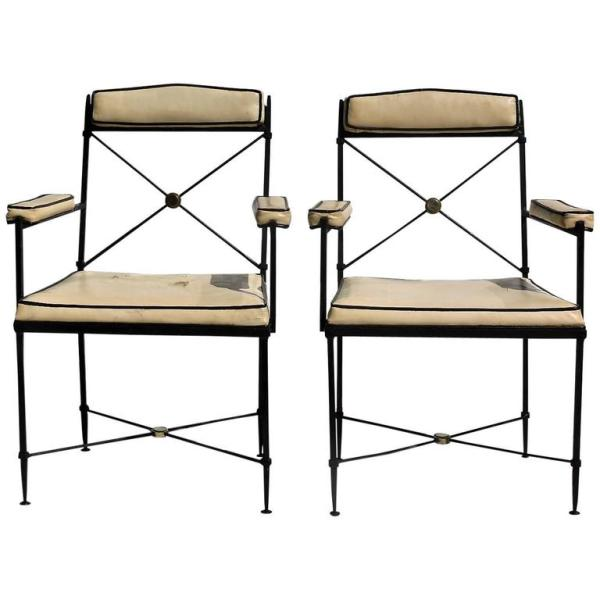 Neoclassical Iron & Brass X Back Chairs