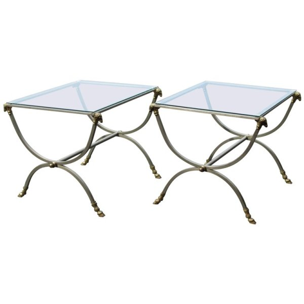 Neoclassical Steel and Bronze Tables style of Maison Jansen