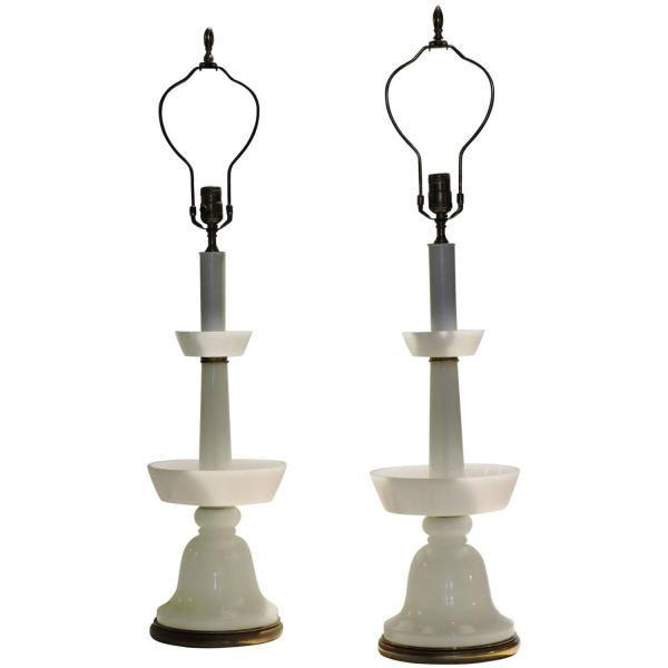 1940's French White Opaline Glass & Brass Lamps