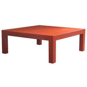 Orange Red Laminate Parsons Coffee Table