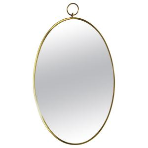Oval Brass Mirror in the style of Gio Ponti