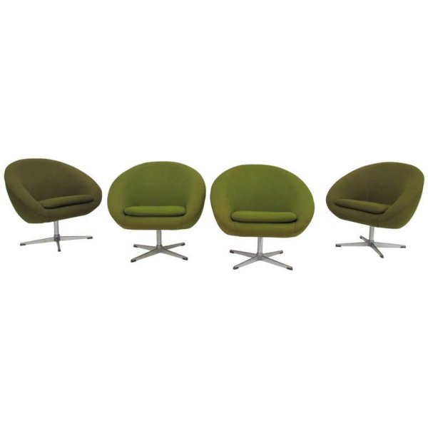 Overman Chartreuse Swivel Pod Chairs