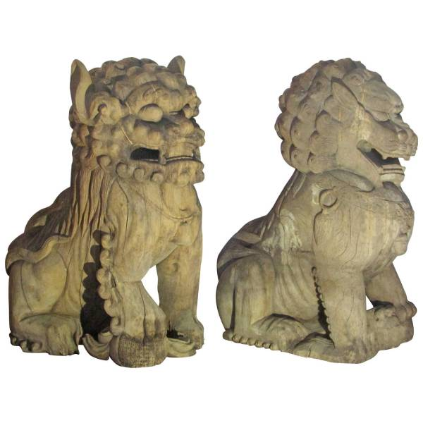 Antique Palace Size Carved Wood Foo Dog Lions