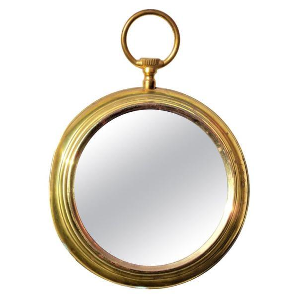 Golden Brass Pocket Watch Wall Mirror style of Piero Fornasetti