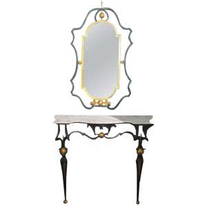 Iron Console Table & Mirror after Gilbert Poillerat