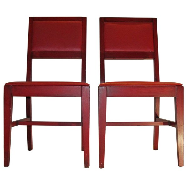 Modernist Red Chairs in the style of Jean Michel Frank