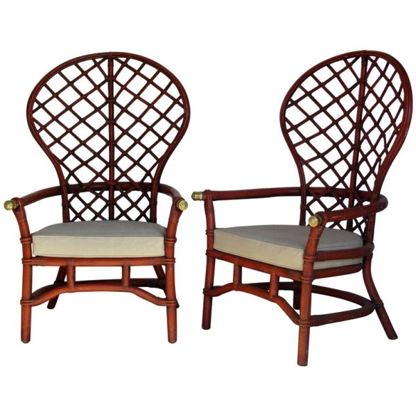Red Balloon Back Rattan Lounge Chairs