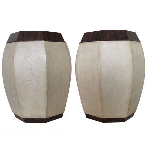 Shagreen Leather & Macassar Tabourets style of Andre Groult