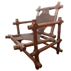 South American Sculptural Wood & Leather Lounge Chair