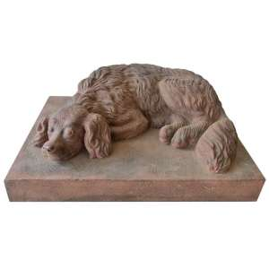 Life Size Terracotta Spaniel Garden Statuary