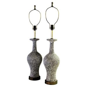 Mid 20th Century Tall Speckle Glaze Lamps