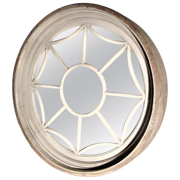 19th C. American Architectural Round Spider Web Window Mirror