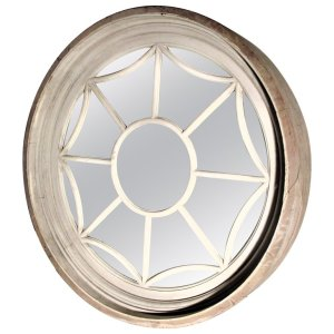 19th C. American Architectural Round Spider Web Window Mirror