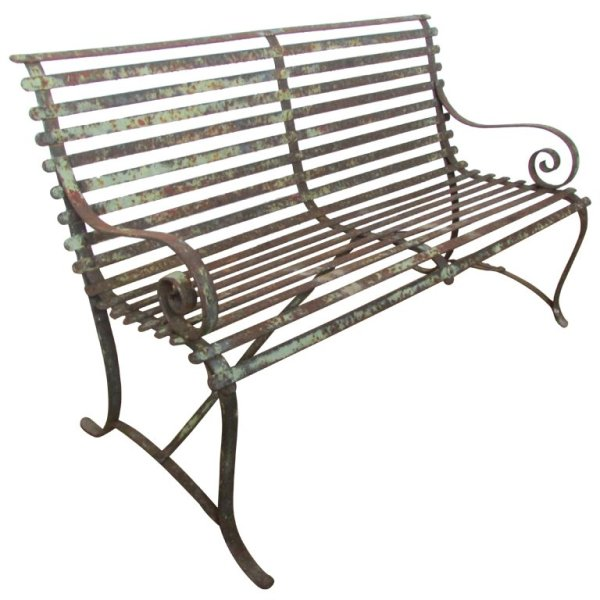 Riveted Strap Iron Garden Bench